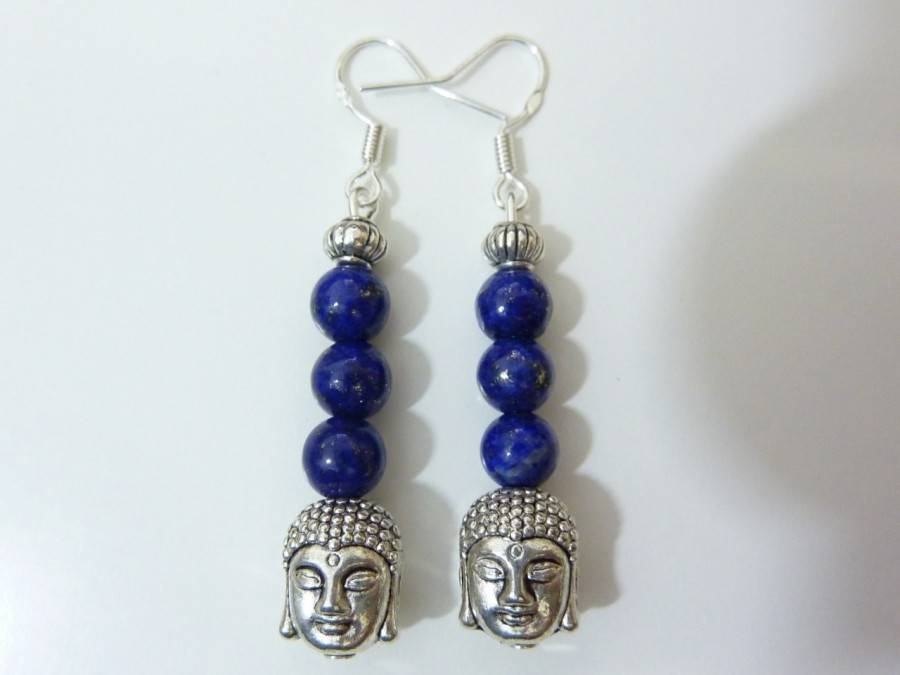 Boucles d'oreilles Lapis lazuli Bouddha