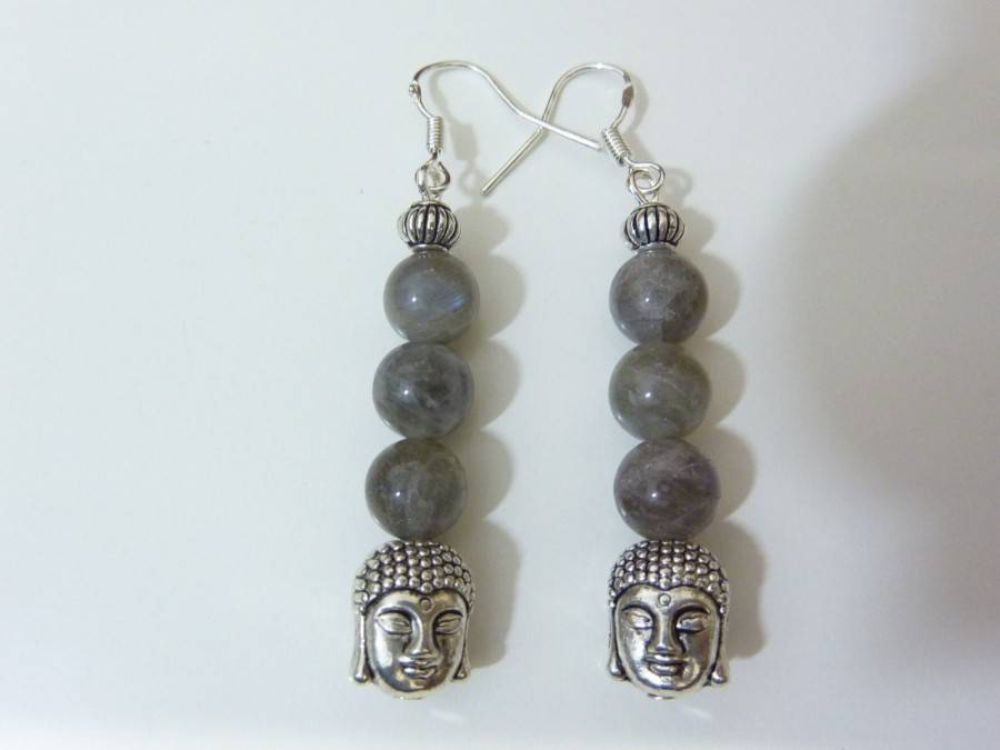 Boucles d'oreilles protection Bouddha Labradorite monture argent 925