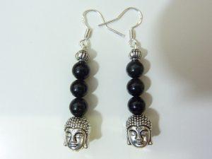 Boucles d'oreilles Obsidienne oeil céleste Bouddha