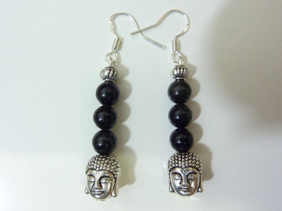 Boucles d'oreilles protection Bouddha Obsidienne oeil celeste