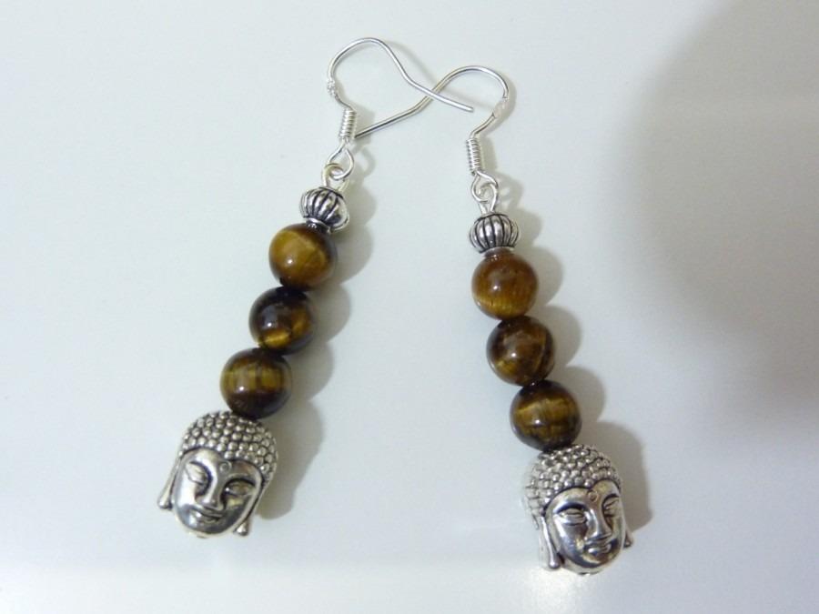 Boucles d'oreilles protection Bouddha Oeil de tigre monture en argent 925