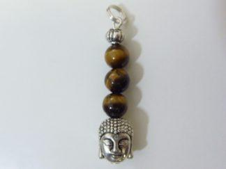 Pendentif protection Bouddha Oeil de tigre perles 6mm longueur 3,6 cm