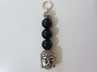 Pendentif protection Bouddha Tourmaline noir perles 6mm longueur 3,6 cm