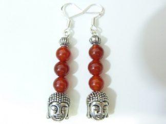 Boucles d'oreilles Bouddha Cornaline perles 6mm