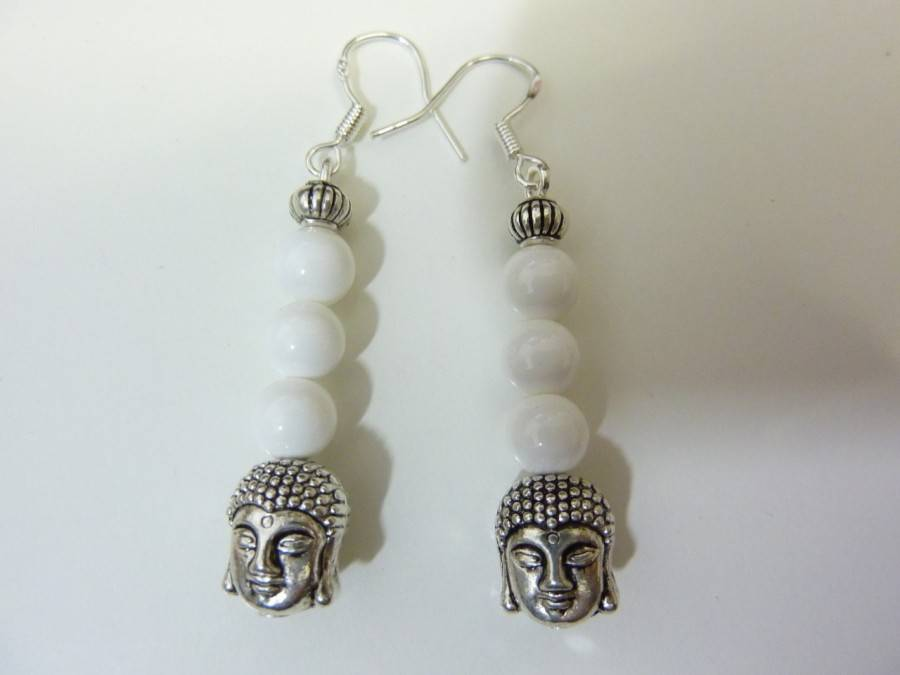 Boucles d'oreilles Jade Bouddha - Perles rondes 6 mm