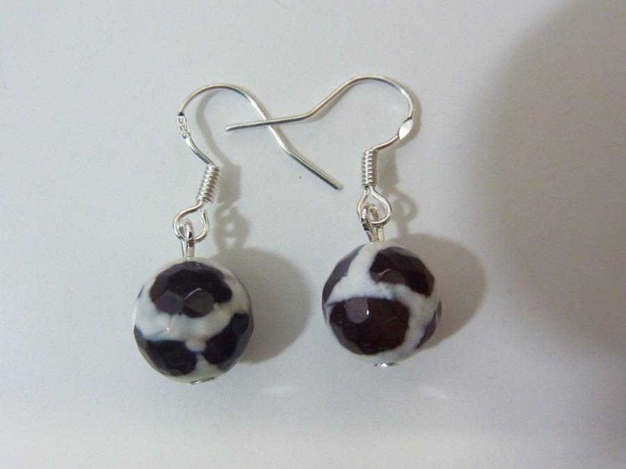 Boucles d'oreilles Agate tibétaine - perles 10 mm