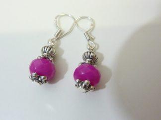 Boucles d'oreilles Agate rose fuschia