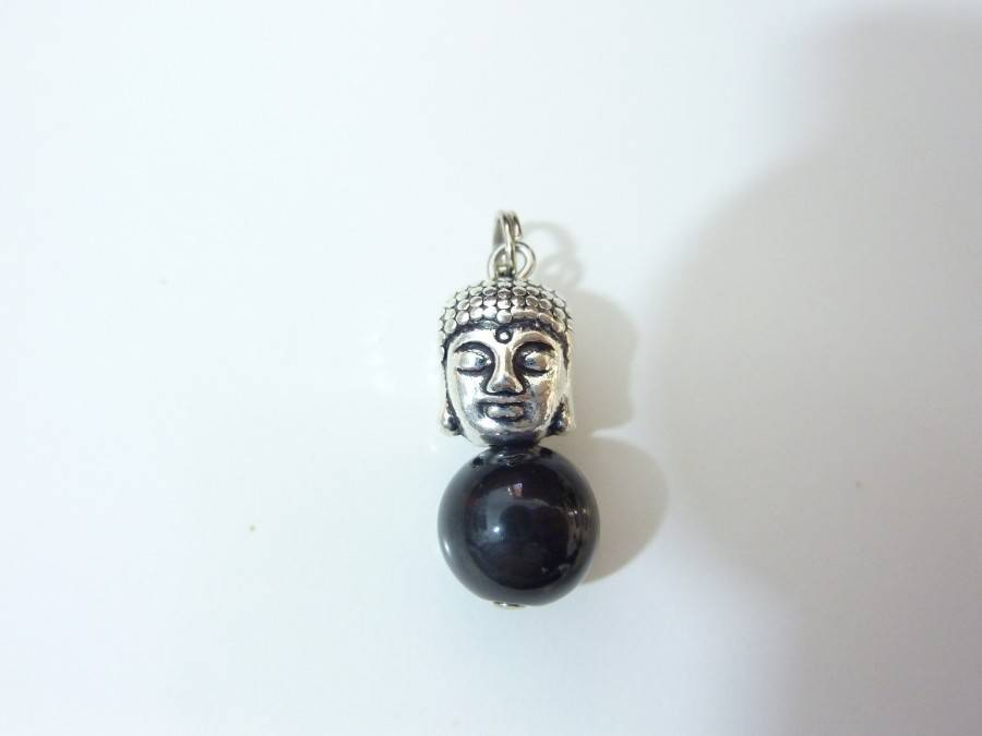 Pendentif protection Bouddha Obsidienne oeil celeste perles 10mm