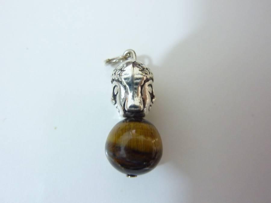 Pendentif protection Bouddha Oeil de tigre perles 10mm longueur 2,7 cm
