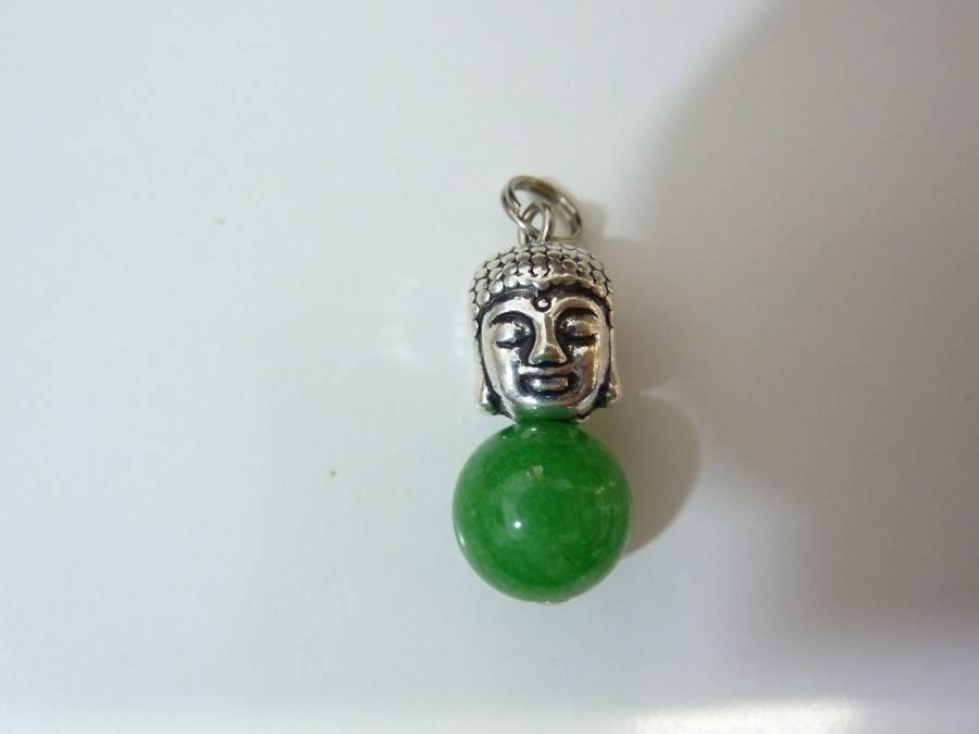 Pendentif Bouddha Jade vert perle 10 mm