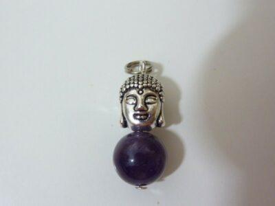 Pendentif sagesse Bouddha Amethyste perle 10 mm longueur 2,7 cm