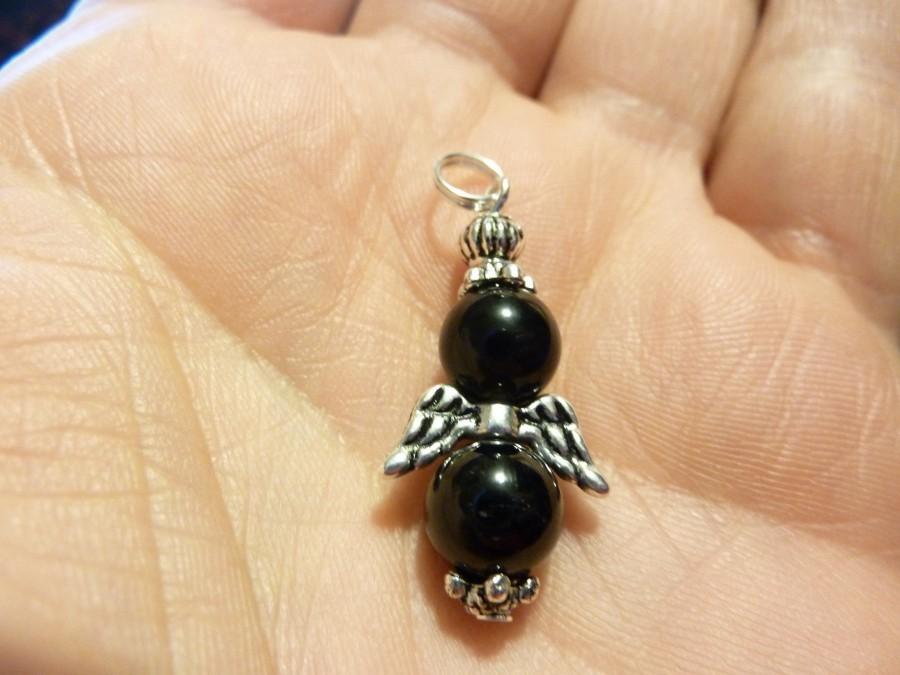 Pendentif Obsidienne oeil céleste-Spinelle noire : perles ronde 8 mm