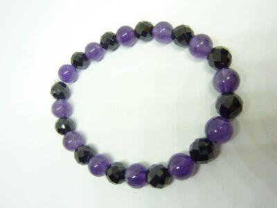 Bracelet calme et protection amethyste spinelle noir perles 8mm
