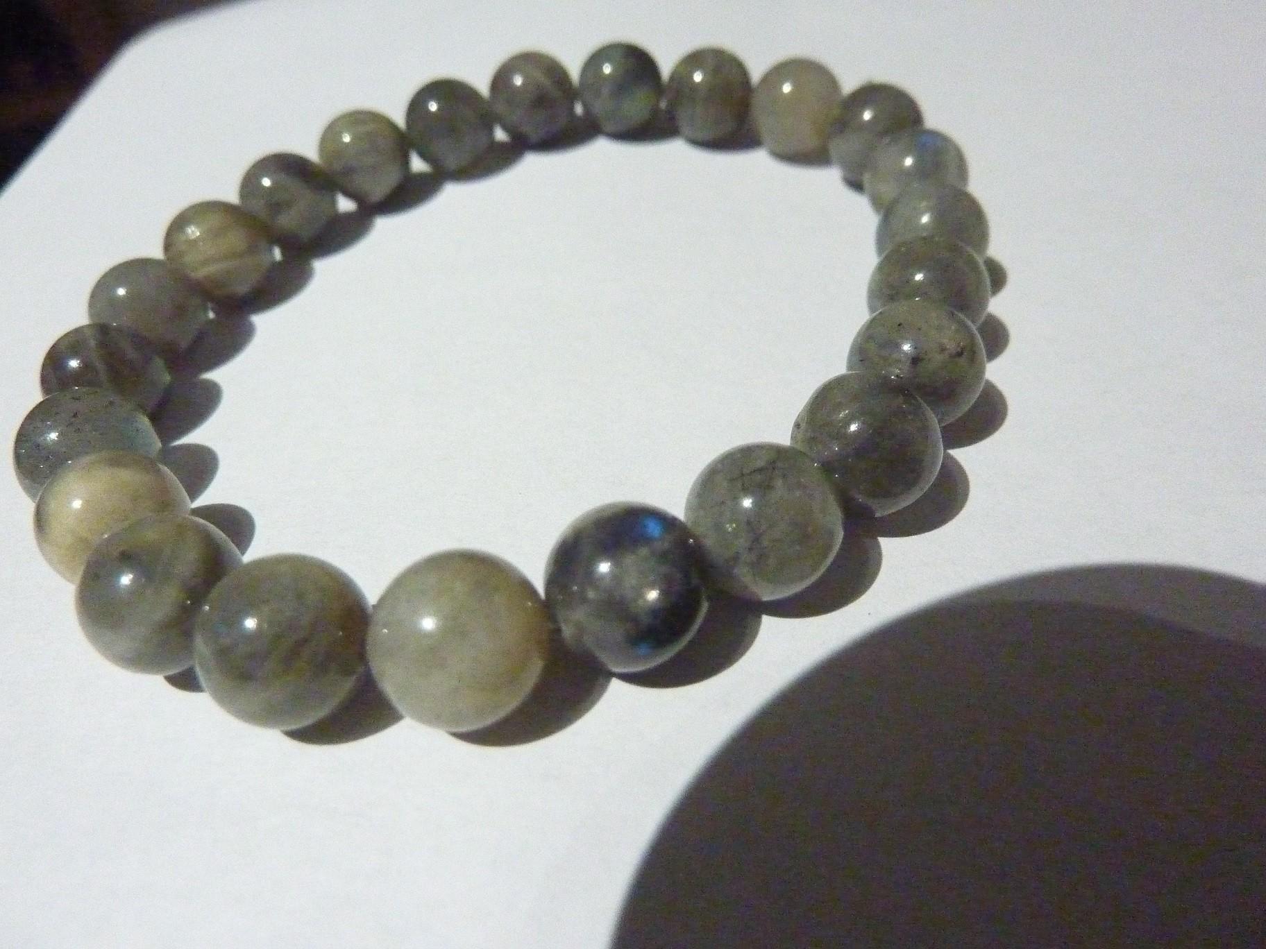 Bracelet Labradorite , perles rondes 8 mm