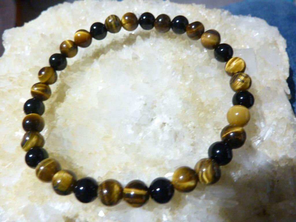 Bracelet oeil de tigre-tourmaline noire protection extrème
