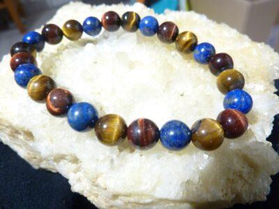 Bracelet oeil de tigre-Taureau-Lapis lazuli perles rondes 8 mm