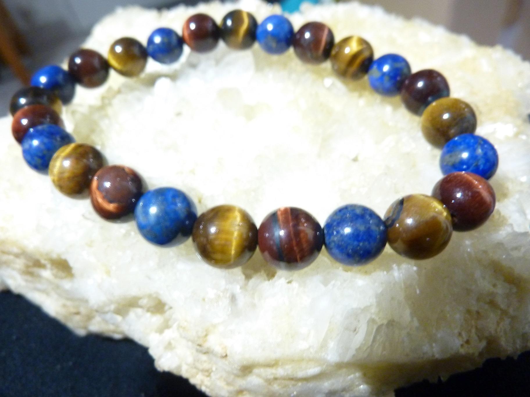 Bracelet protection: Oeil de tigre,Taureau Lapis lazuli perles r