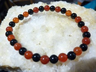 Bracelet tourmaline noire et cornaline perles rondes 6mm