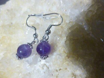Boucles d'oreilles améthyste - Perles rondes 8 mm