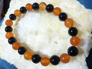Bracelet tourmaline noire et cornaline perles rondes 8mm