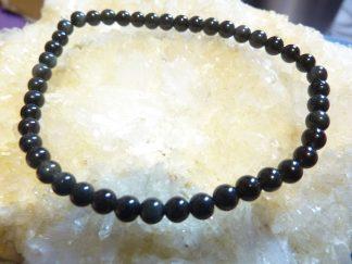 Bracelet Obsidienne oeil celeste – perles rondes de 4 mm