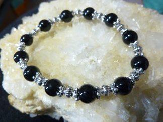Bracelet tourmaline noire perles rondes 8 mm et argent plaqué