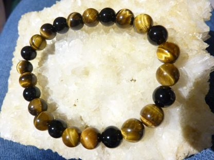 Bracelet protection extreme Oeil de tigre et tourmaline noire perles rondes 8mm