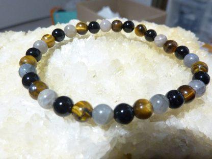Bracelet Oeil de tigre-Labradorite-Tourmaline noire-perles rondes 6 mm