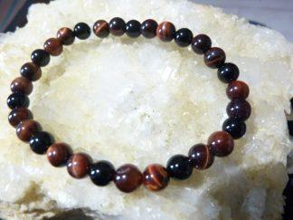 Bracelet Oeil de taureau-tourmaline noire-perles rondes 6 mm