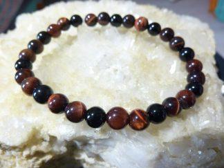 Bracelet protection extreme Oeil de taureau et tourmaline noire perles rondes 6mm