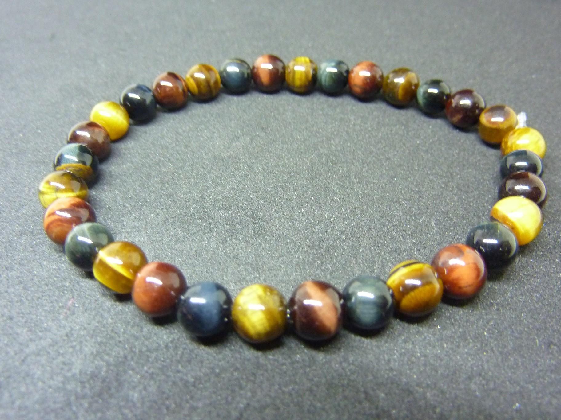Bracelet Oeil de tigre,oeil de Faucon,oeil de Taureau perles rondes 6 mm