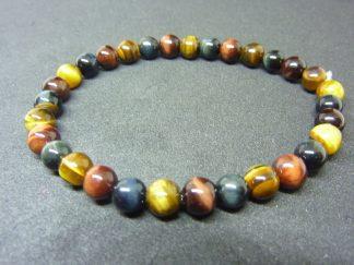 Bracelet Oeil de tigre-oeil de Faucon-oeil de Taureau perles rondes 6 mm
