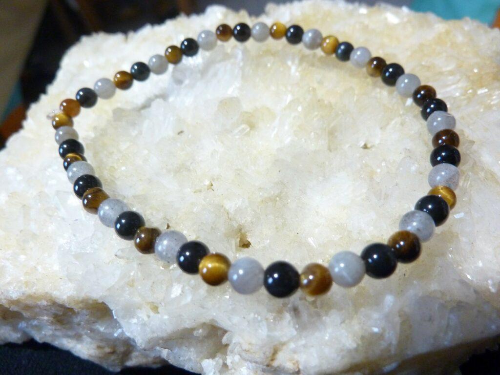 Bracelet Oeil de tigre-Labradorite-Obsidienne oeil celeste - Perles rondes 4 mm