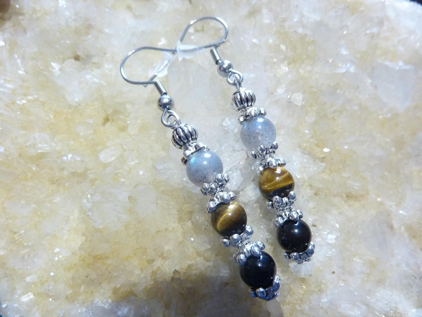 Boucles d'oreilles protection extreme Oeil de tigre Labradorite Obsidienne oeil celeste Perles 6mm