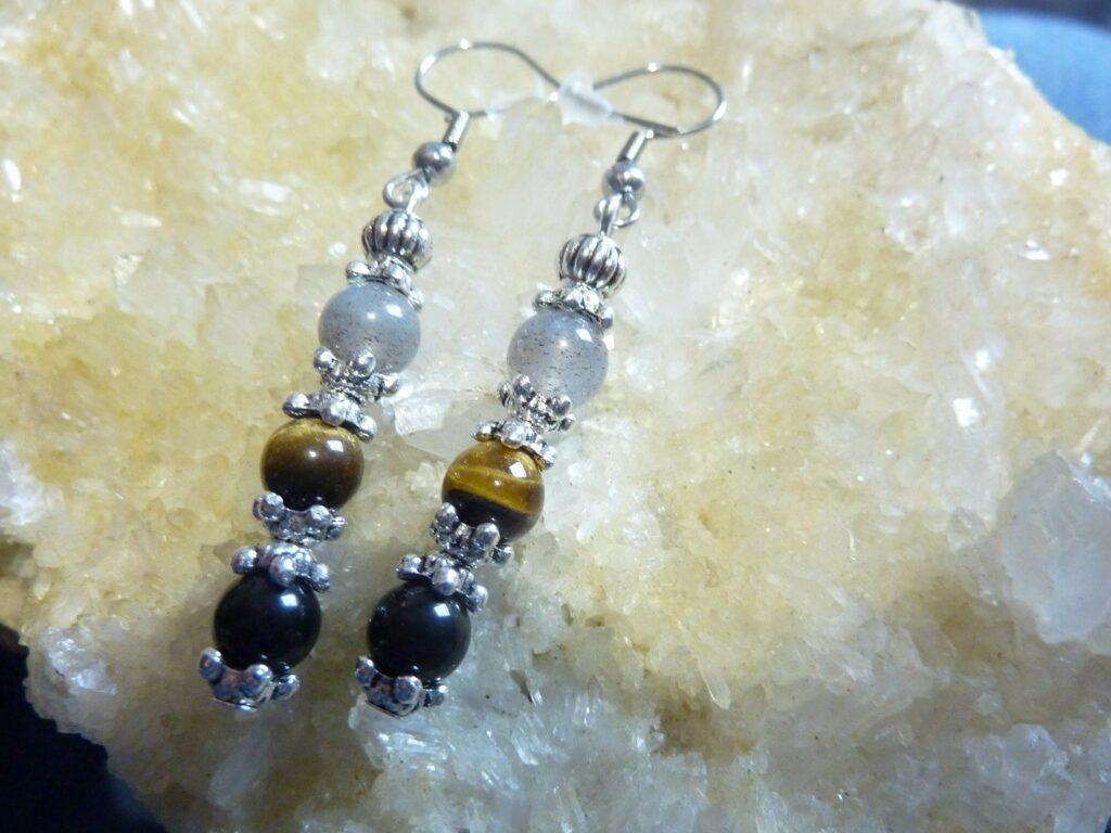 Boucles d'oreilles protection extreme Oeil de tigre Labradorite Obsidienne oeil celeste Perles 6 mm