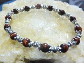 Bracelet protection extreme Oeil de taureau perles rondes 6mm et argent plaqué