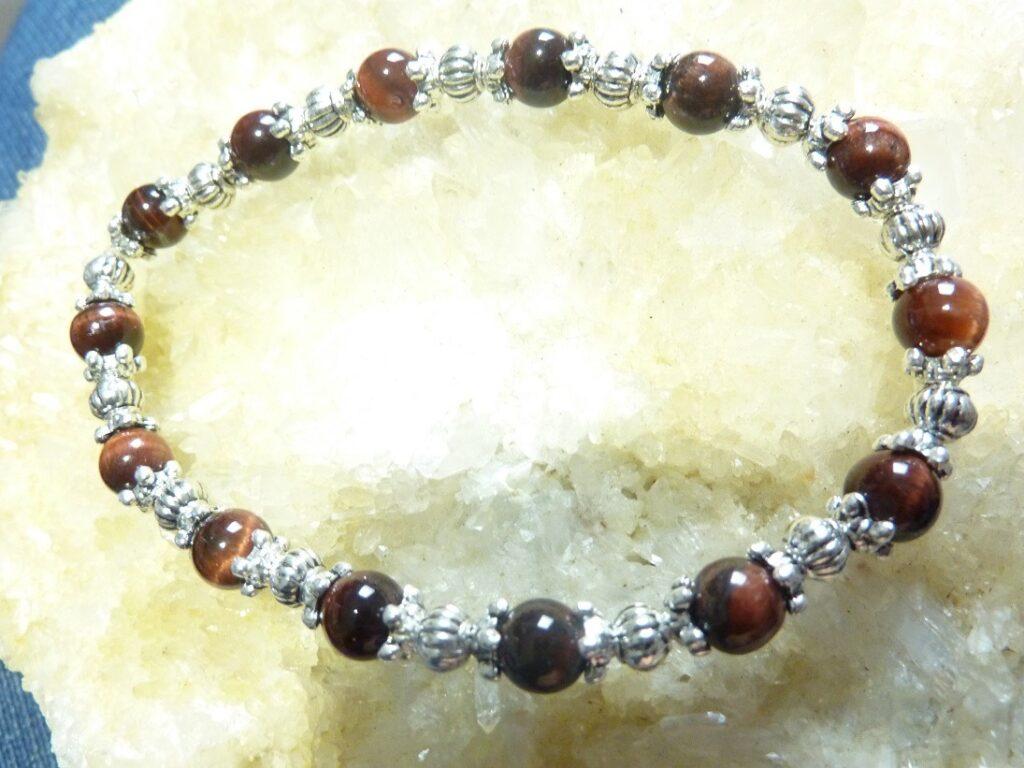 Bracelet Oeil de taureau : perles rondes 6 mm