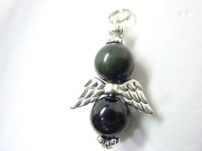 Pendentif Obsidienne oeil céleste-Spinelle noire : perles ronde 10 mm