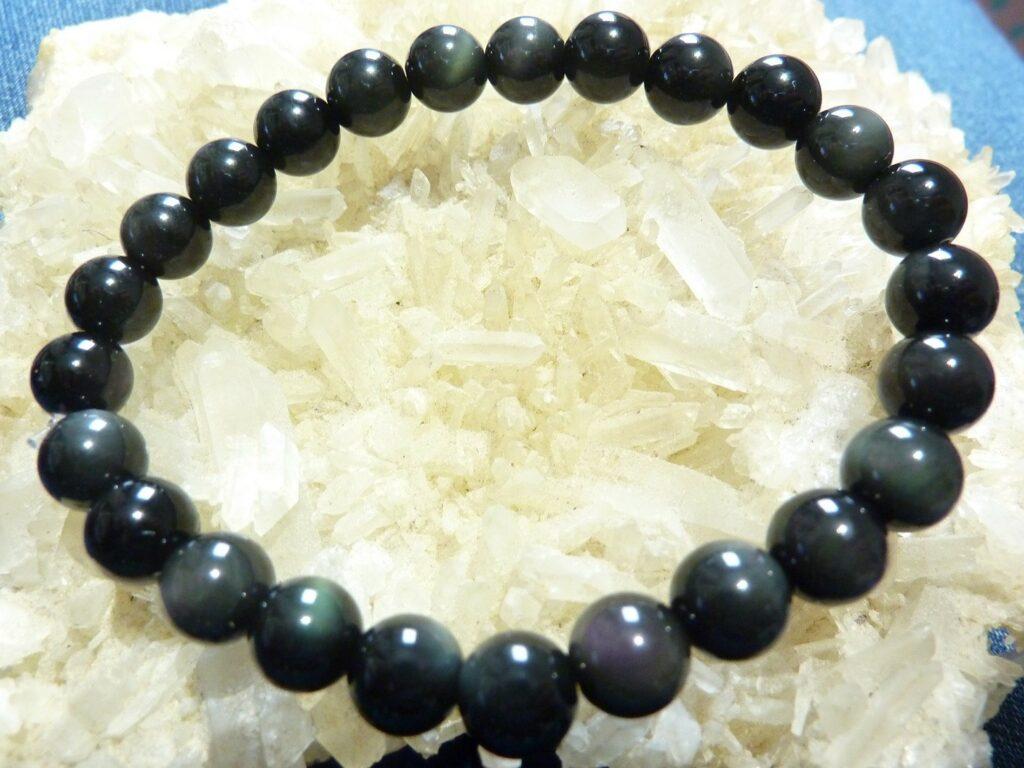 Bracelet protection: Obsidienne oeil celeste perles rondes de 8 mm