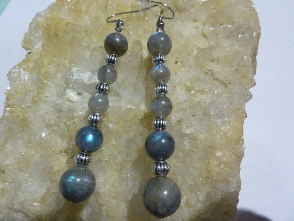 BOUCLES D'OREILLES LABRADORITE perles 10-8-6 mm