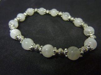 Bracelet pierre de lune perles rondes 8mm et argent plaqué