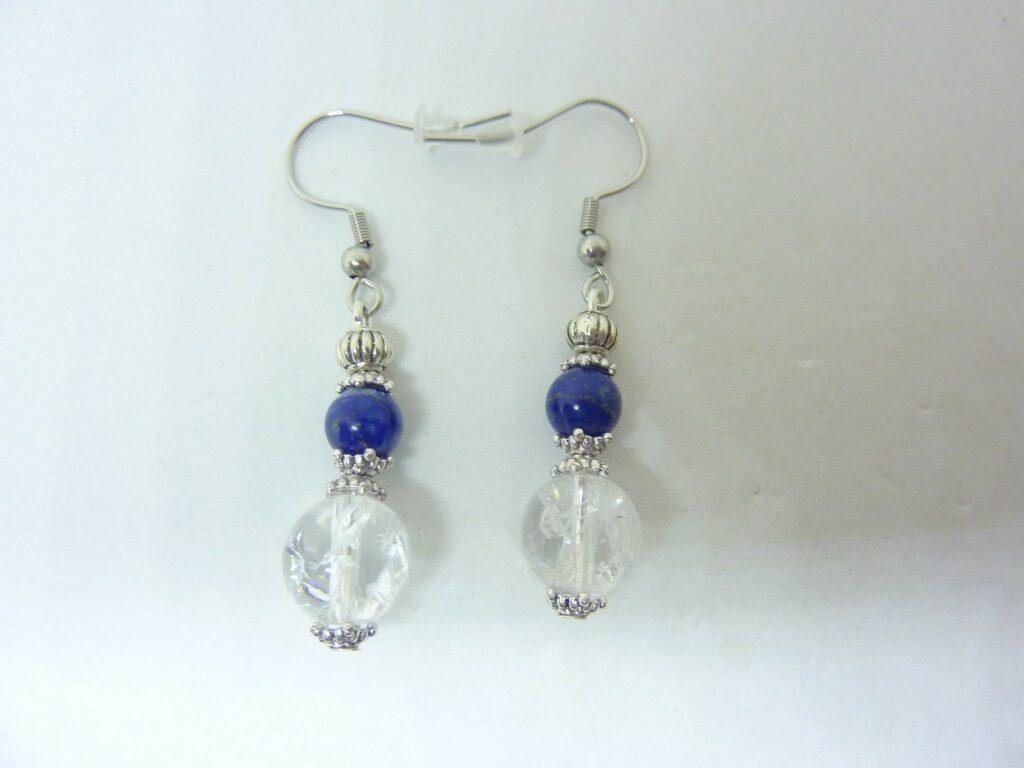 Boucles d'oreilles lapis lazuli-Quartz cristal de roche