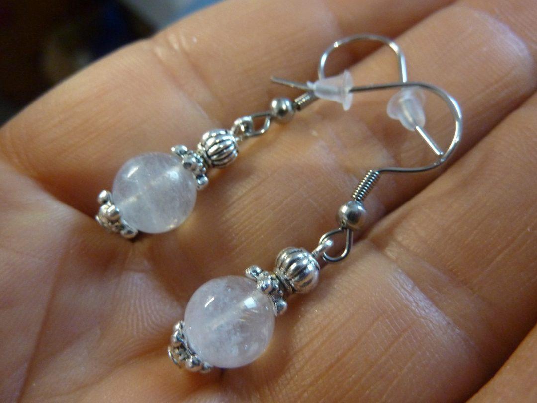 Boucles d'oreilles pierre de lune perles 8 mm
