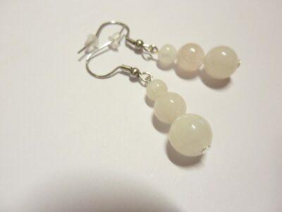 Boucles d'oreilles pierre de lune  perles rondes 10-8-6 mm