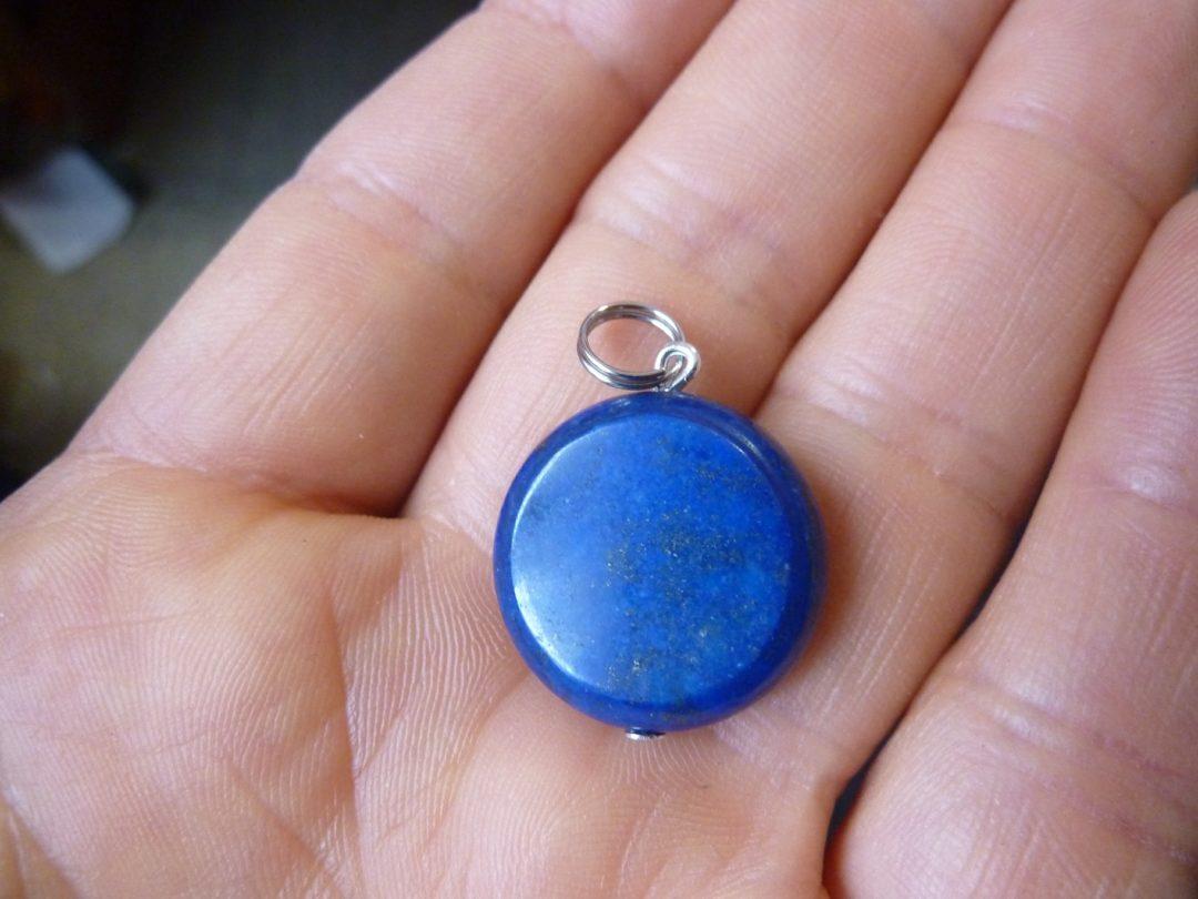 Pendentif Lapis lazuli-Perles plate 2 cm-0,6 cm