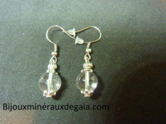 Boucles d'oreilles quartz cristal de roche