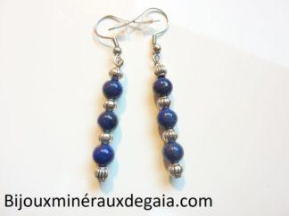 Boucles d'oreilles lapis lazuli-Perles rondes 6 mm