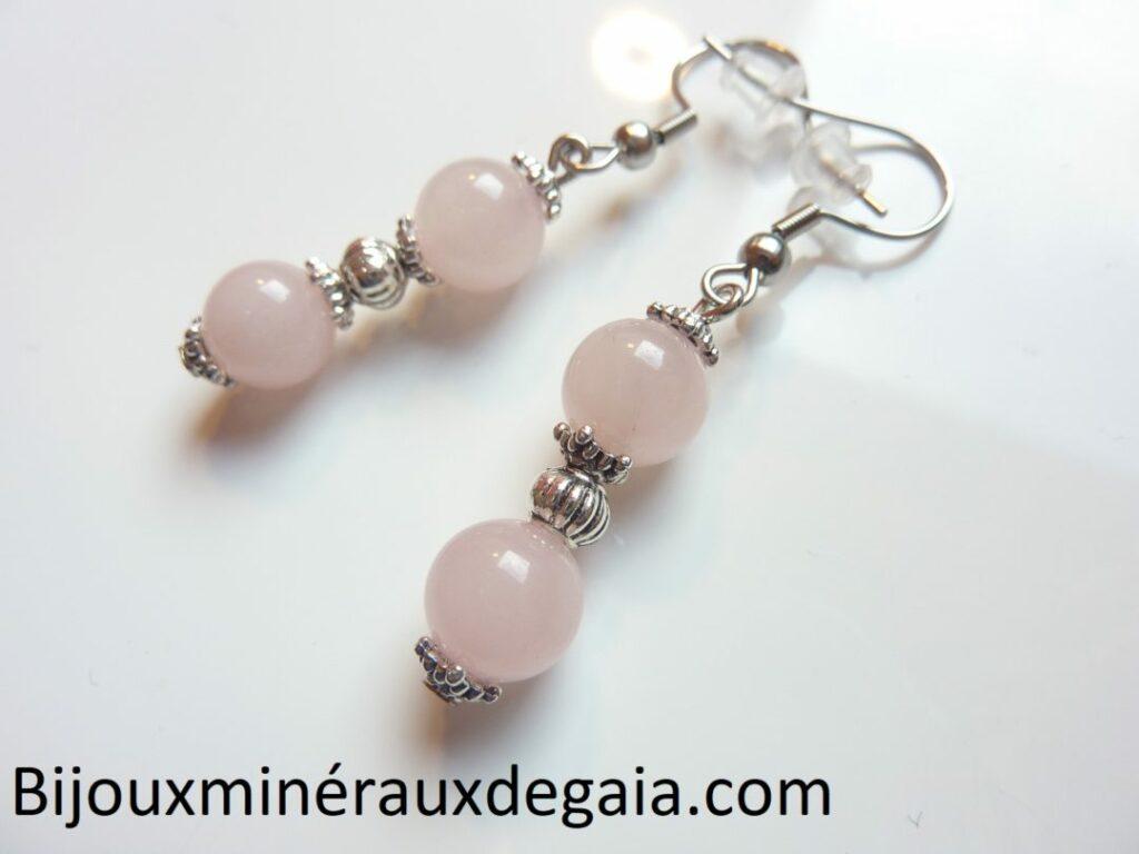 Boucles d'oreilles quartz rose : perles rondes 8 mm