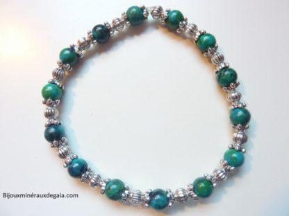 Bracelet azurite chrysocolle perles rondes à 6 mm