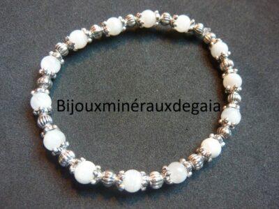 Bracelet pierre de lune perles rondes 6 mm et plaqué argent